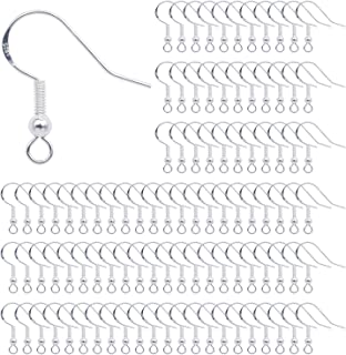 Crochets de Boucle d'Oreilles 100 Pieces Crochets Oreille Argent Sterling 925 avec Boule Ressort pour DIY Fabrication de B...
