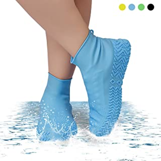 Fekey&JF Waterproof Silicone Shoe Cover, Reusable Non-Slip Rain&Snow Boot for Cycling, Camping, Gradening, Picnic and Daily Cleaning, Fit of Men, Women and Childs