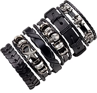 JF.JEWELRY 6-PCS Mixed Stackable Braided Leather Cuff Bracelet for Men with Skull Charms,Adjustable