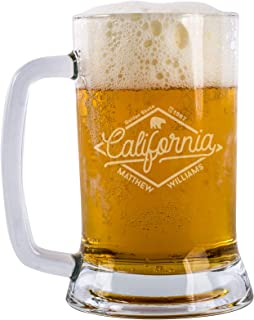 Personalized California Beer Mug Customizable With Name And Date Beer Gifts For Men Beer Birthday Gifts Custom Beer Mug 16 oz