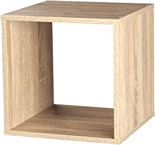 Estante de madera, varios modelos con 1, 2, 3 o 4 compartimentos, Antique Oak, cubo