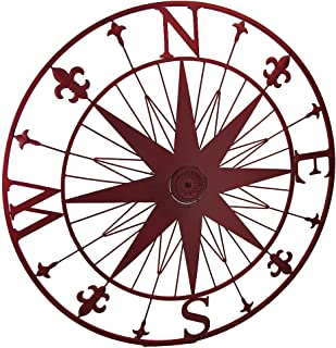 Zeckos Compass Rose Fleur De Lis Vintage Finish Metal Wall Hanging (Red)