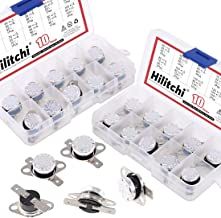 Hilitchi KSD301 20Pcs NO and NC Thermostat Temperature Thermal Control Switch Auto Reset 40C to 135C Thermal Control Switch Assortment Kit with Bimetal Disc. for Household Electric Appliances