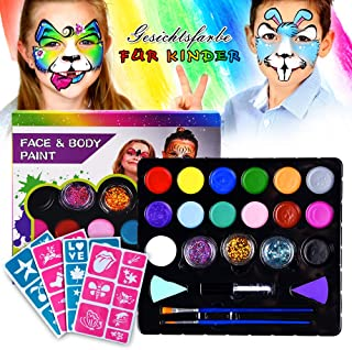Innoo Tech Face Body Paint Kit Kids, Paint Oil Cosmetics Makeup Cosplay 16 Color, 2 Brushes, 3 Glitters Powder, 2 Sponges { Hypoallergenic & Non-Toxic }