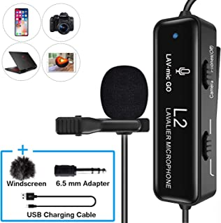 FULAIM Lavalier Microphone with Noise Reduction for iPhone, Camera, PC, Android, Camcorder, Professional Omnidirectional Condenser Lapel Mic with USB Charging for Video, YouTube, Interview, Vlogging