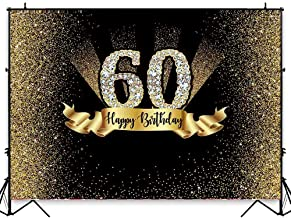 Allenjoy 7X5FT Durable Fabric Gold and Black 60th Birthday Photography Backdrop Adult Golden Glitter Diamonds Wrinkles Background Sixty Years Old Age Party Decoration Photo Banner Photobooth