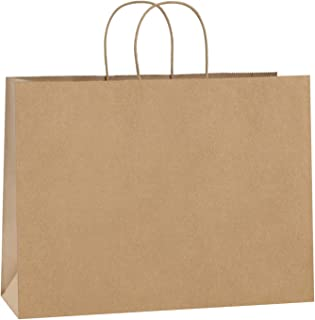 BagDream 100Pcs 16x6x12 Inches Kraft Paper Bags with Handles Bulk Gift Bags Shopping Bags for Grocery, Mechandise, Party, ...