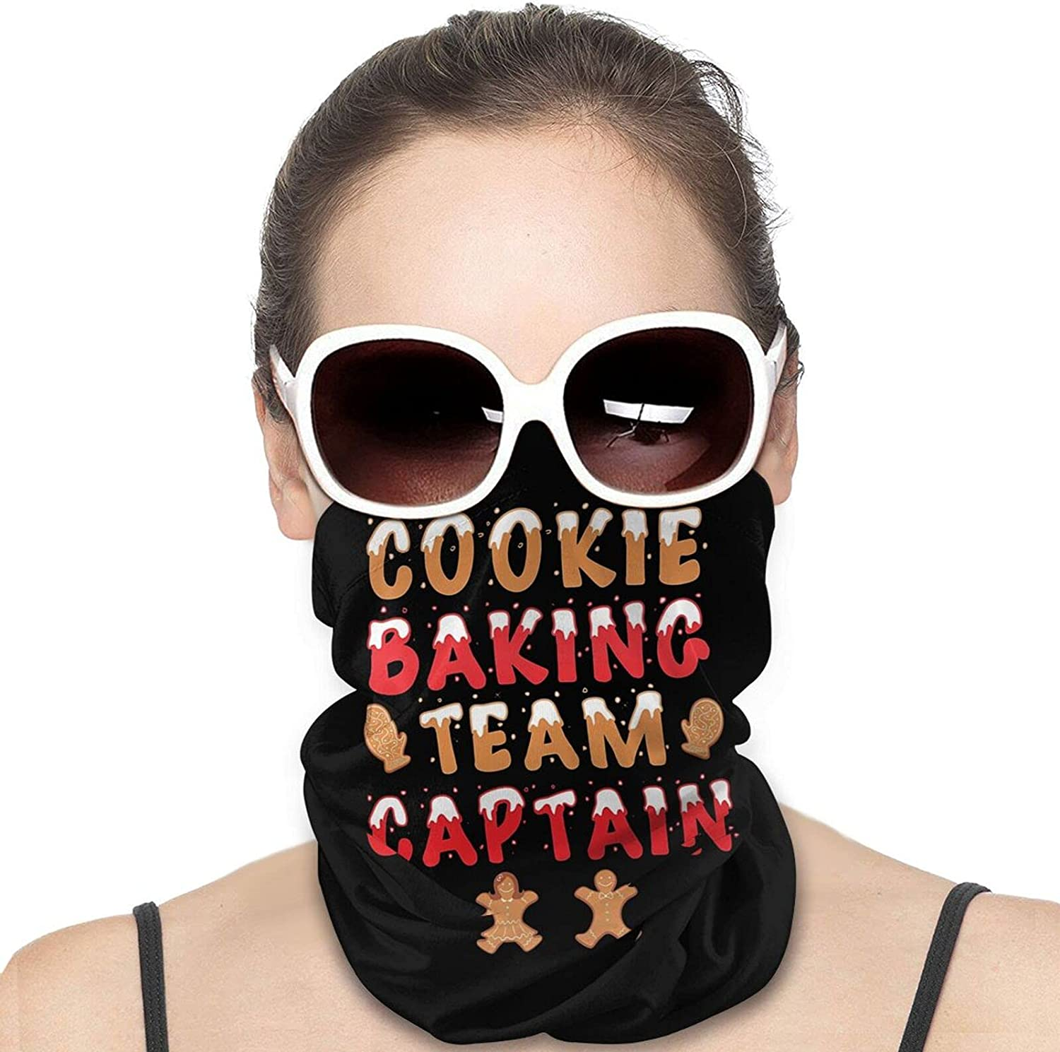 Cookie Baking Team Captain Christmas Round Neck Gaiter Bandnas Face Cover Uv Protection Prevent bask in Ice Scarf Headbands Perfect for Motorcycle Cycling Running Festival Raves Outdoors