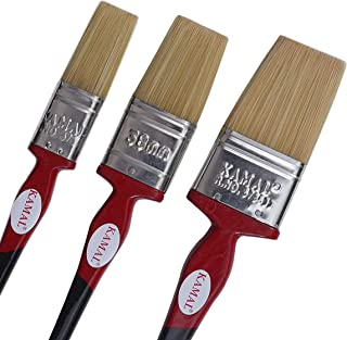 KAMAL Flat CHAPTA(WASH) Synthetic Premium RED and Black Handle Brush Set of 3 (25mm, 38mm, 50mm)