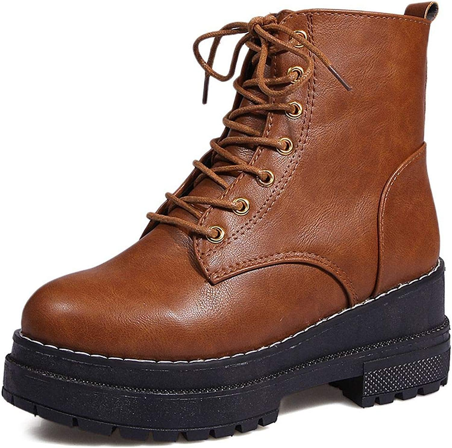 Superb Zone Women shoes Motorcycle Boots New Lace Up Proof Platform Thick Heel Boots Women,Brown,8.5