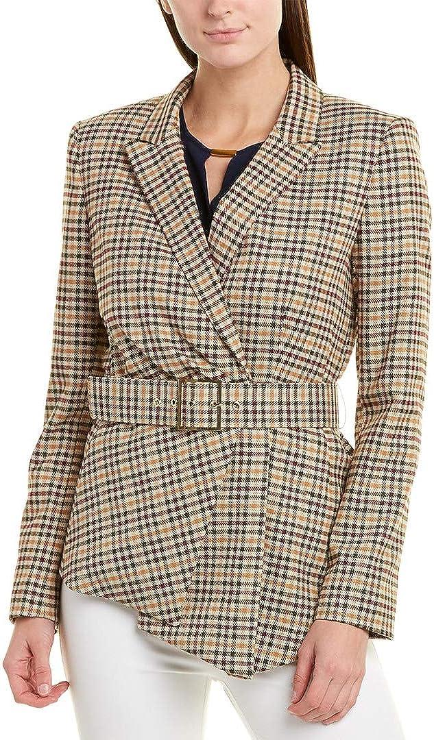 TAHARI ASL NEW Women/'s Collarless Grid Plaid Lined Blazer Jacket Top TEDO