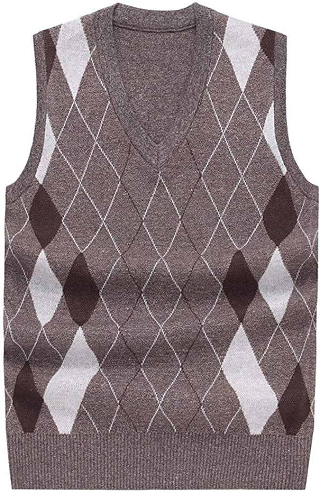 Sweater Sleeveless Male Cardigan Vest Business Casual Coffee 4XL