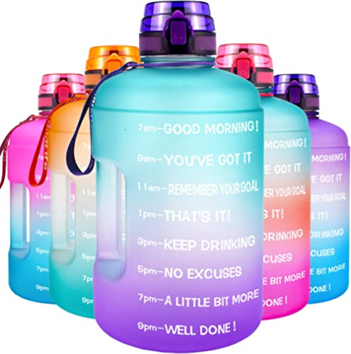 QuiFit Motivational Gallon Water Bottle - with Time Marker & Infuser & Flip Top 128/73 oz Leak-Proof Reusable Water J...