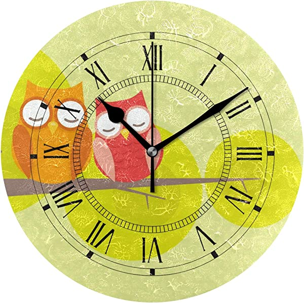 Jojogood Cute Owl Couple Wall Clock Silent Non Ticking Clock Battery Powered With Quartz Movement For Living Room Bedroom Home Decoration