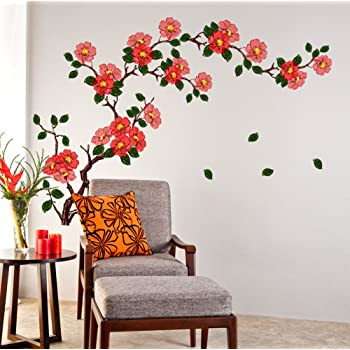 Decals Design StickersKart Wall Stickers Floral Branch Sofa Living Room Background Antique Flowers Vinyl Art (Multicolor)