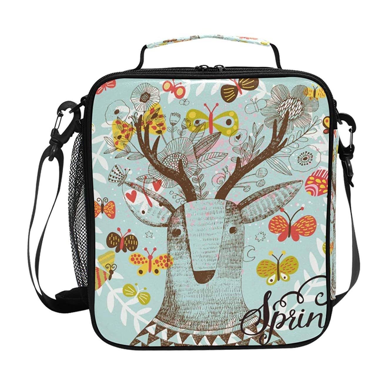 Animal Deer Florals Lunch Bag Insulated Lunch Box Cooler Shoulder Strap Meal Prep for Women Men Boy Girl Large Tote Bag School Office