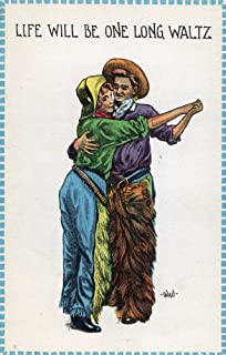 Comic Cartoon - Cowgirl and Cowboy Dancing; Life's Gonna Be One Long Waltz (16x24 Fine Art Giclee Gallery Print, Home Wall Decor Artwork Poster)
