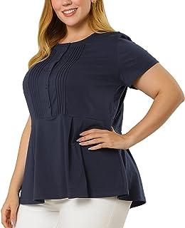 Agnes Orinda Plus Size T Shirts for Women Pintuck Half Placket Round Neck Peplum T Shirt