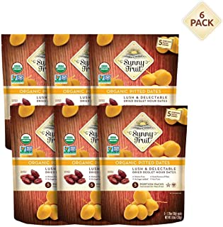ORGANIC Pitted Dried Dates - Sunny Fruit (6 Bags) - (5) 1.76oz. Portion Packs per Bag | Purely Dates - NO Added Sugars, Su...