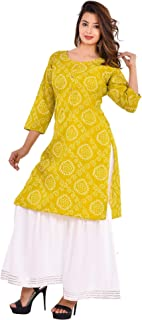 Vrnda Women's Cotton Printed Kurta and Sharara Set For Casual