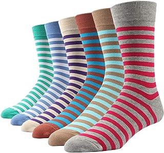 6 pares de calcetines estampados coloridos para hombres, rayas dulce calidad europea