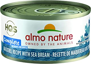 almo nature HQS Complete Mackerel Recipe with Sea Bean in gravyIn Gravy Grain Free Wet Canned Cat Food (Pack of 24 x 2.47 oz/70g)