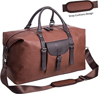598959ecfa Oversized Leather Travel Duffel Bag,Weekender Overnight Bag Waterproof  Leather Large Carry On Bag Travel