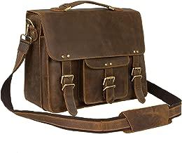 Jack&Chris Vintage Men's Leather Briefcase Messenger Bag Fits 14