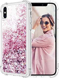 Caka iPhone Xs Max Case, iPhone Xs Max Glitter Case with Tempered Glass Screen Protector Bling Flowing Floating Luxury Glitter Sparkle TPU Bumper Liquid Case for iPhone Xs Max (6.5 inch) (Rose Gold)