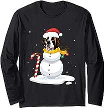 Saint Bernard Snowman Dog With Noel Costume Dancing On Snow Long Sleeve T-Shirt