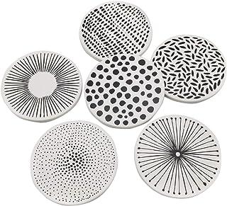 Hemoton Car Coasters, 6pcs Absorbent Porcelain Car Coasters, Car Cup Holder Coasters, Table Tea Cup Holder Coaster for Ca...