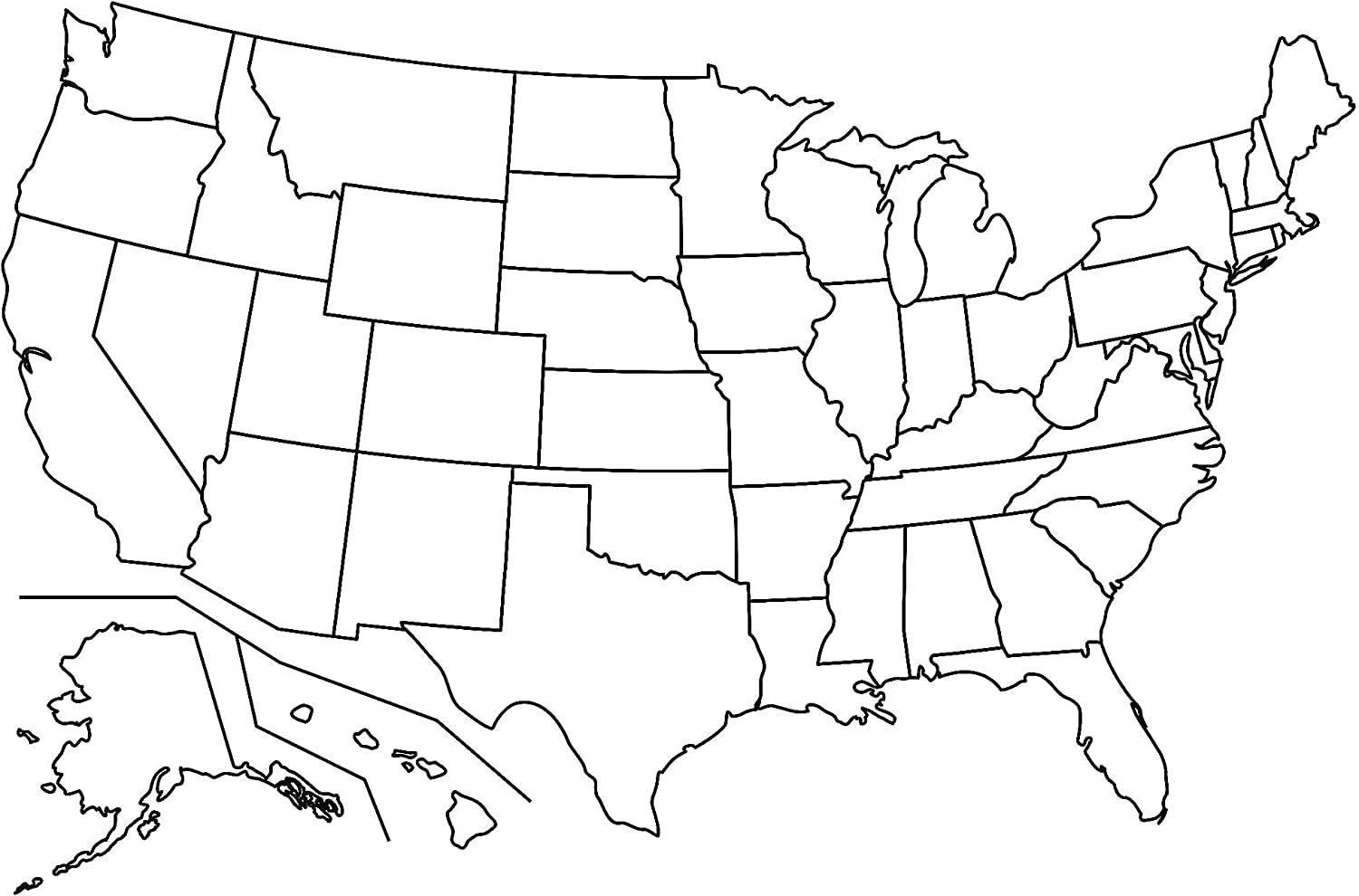 Us Map White And Black Amazon.com: Map   Us Map No Labels Blank Simple of United States