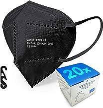 Mascarilla FFP2 caja de 20 unidades, con Ajustador Craneal, Ultraproteccion Certificado Oficial CE 2834 (20 BLACK)