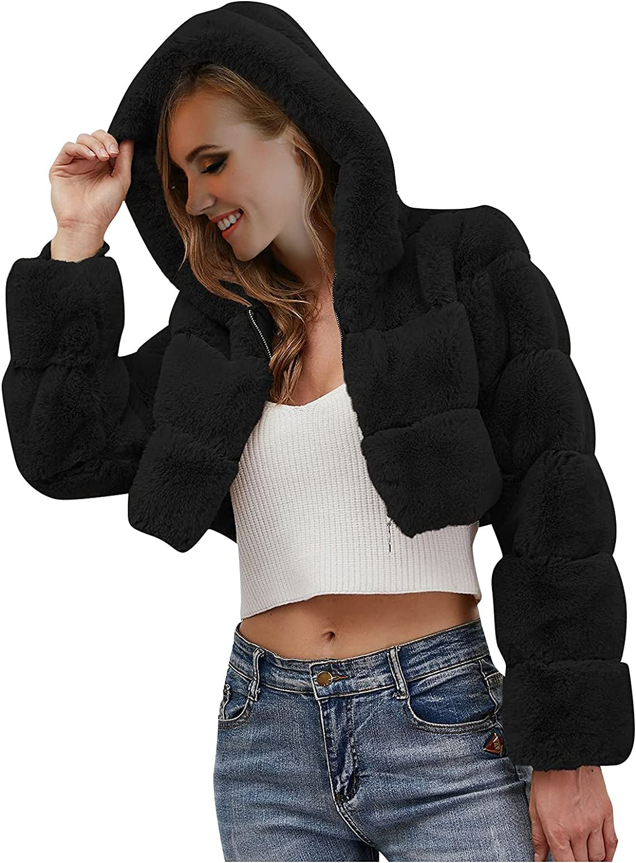 Yuege Women Solid Color Winter Warm Coats Faux Coat Warm Furry Faux Jacket Long Sleeve Outerwear