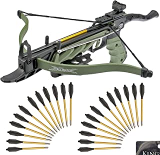 KingsArchery Self-Cocking Crossbow Bundle with Adjustable Sights, Spare Crossbow String..