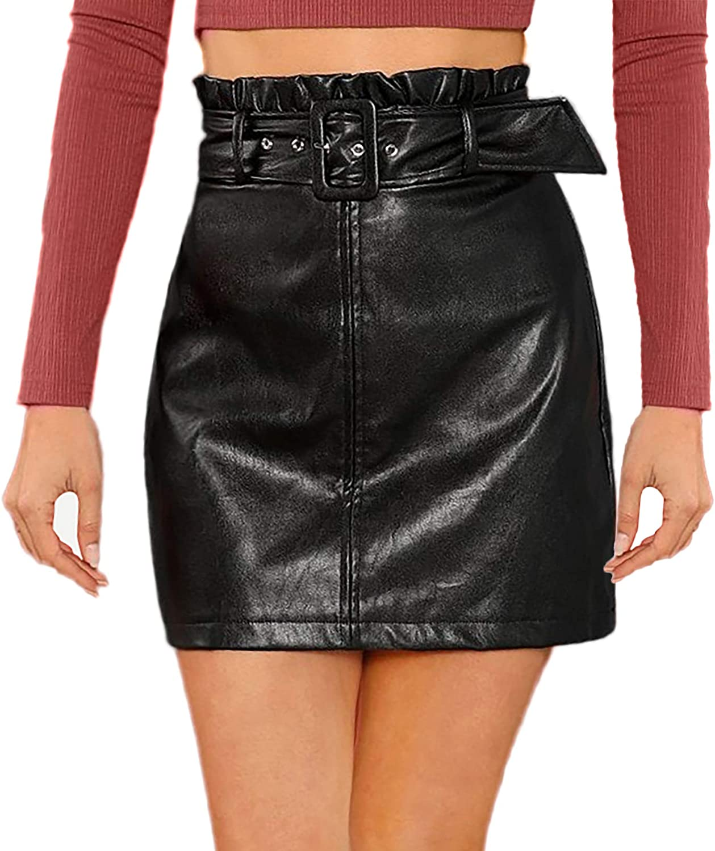WDIRARA Women's High Waist Split Crocodile Elegant Leather Bodycon Mini Skirt