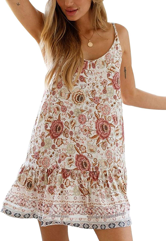 SHIBEVER Women's Dresses Summer Casual Floral Printed Spaghetti Strap Sun Dress Boho Beach Swing Mini Dresses S-2XL