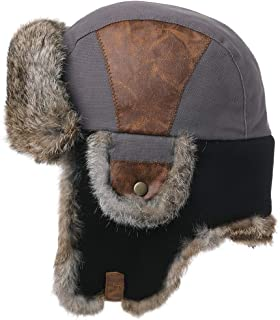 Grey Rabbit Fur Winter Bomber Trapper Earflaps Cap Patchwork Ushanka Russian Hunting Hat for Men Women 57-60cm