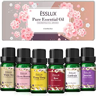 Floral Essential Oils Set, Esslux Pure Aromatherapy Diffuser Oils, Rose, Ylang Ylang, Jasmine, Cherry Blossom, White Tea, ...