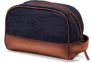 DRAKENSBERG Dopp Kit - Klassischer Kulturbeutel und Kosmetik-Tasche für Herren und Damen, handgemacht in Premium-Qualität, 5L, Canvas und Leder, Marineblau, DR00197