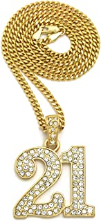 Fashion21 Hip Hop Number 21 Pendant 24 inches Various Chain Necklace in Gold Tone (Gold / 3mm 24