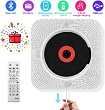 CD Player with Bluetooth - Portable CD player-01 Wall Mountable, Remote Control, FM Radio HiFi Speaker, Supports USB, Earphones and Phone Charging by HANPURE(White)