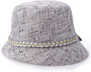 HongJie Hou Spring and Summer Linen hat Visor Cap hat Sunscreen Fashion hat (Color : Grey)