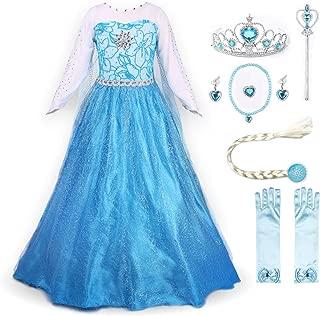 Snow Party Elsa Dress Queen Costume Princess Anna Girls Dress Up