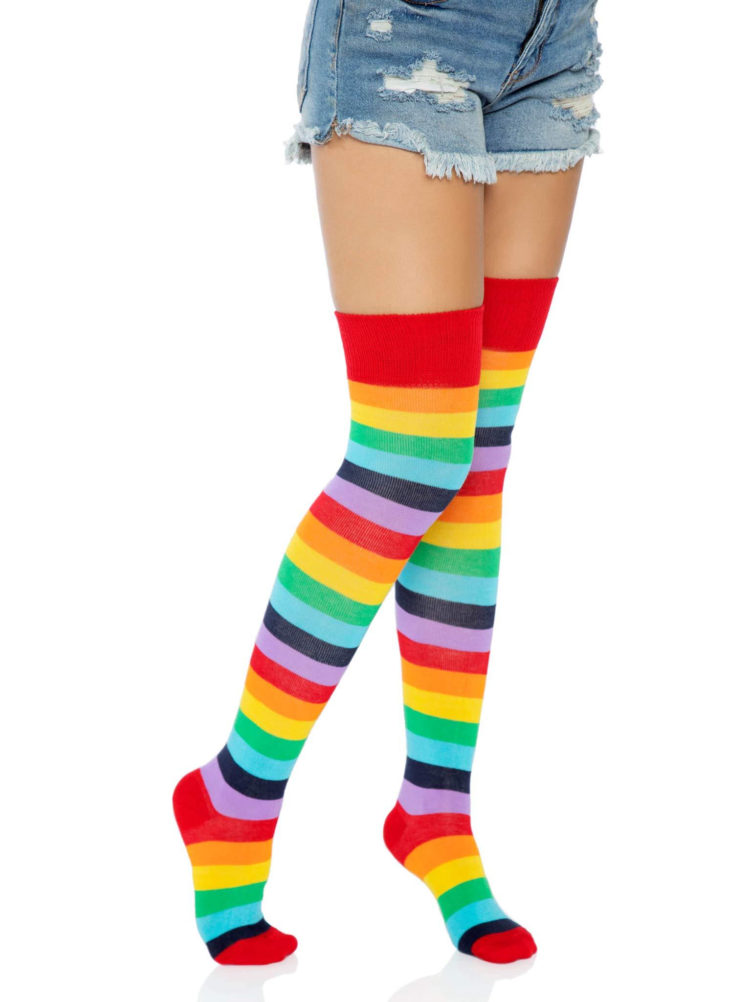 Leg Avenue Women's Rainbow Pride Festival Thigh Highs Socks