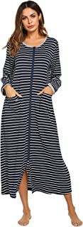 Ekouaer Women Long Robes Zipper Front Full Length House Coat Pockets Striped Loungewear