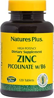 NaturesPlus Zinc Picolinate Complex with B6-30 mg, 120 Vegetarian Tablets - Immune Support with Vitamin B6 & Brown Rice Pr...