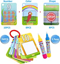 zoordo Water Painting Graffiti Book Card 26pcs Early Education Cognitive Cards Colouring Doodle Board 2 Magic Drawing Pens Games Toy for Toddlers Kids Baby – Number, Shapes and Colors
