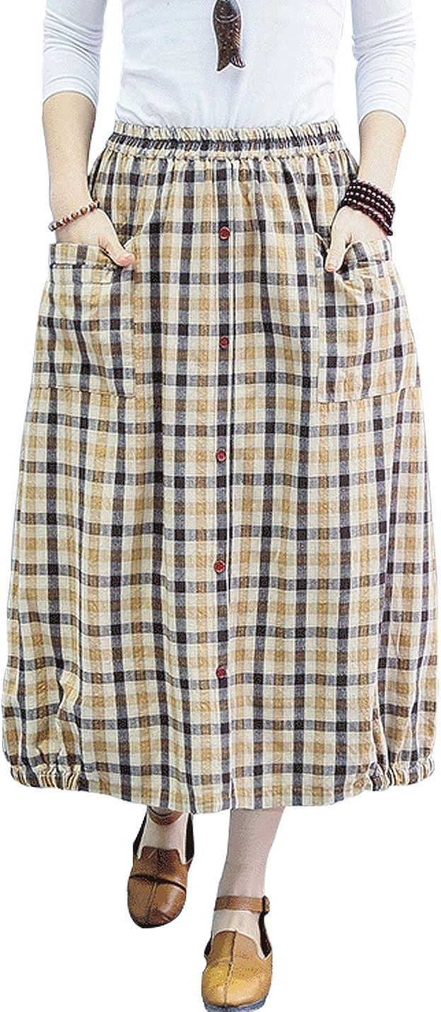 Gihuo Women's Casual Cotton Linen Elastic Waist Plaid Midi Skirt