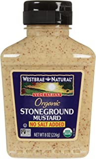 Westbrae Organic Stoneground Mustard No Salt Added, 8 Ounce